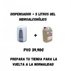 DISPENSADOR + 5L GEL HIDROALCOHOLICO