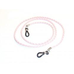 Cordón cuero trenzado  redondo rosa