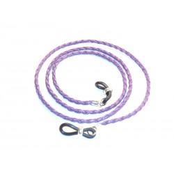 Cordón cuero trenzado  redondo violeta