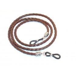 Cordón cuero trenzado  redondo marrón