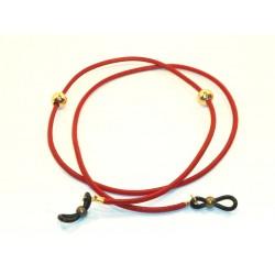 Cordón cuero rojo con abalorios